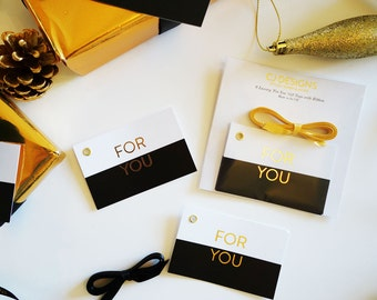 Gold Foil Luxury Letterpressed Gift Tags Wrap Set of 6
