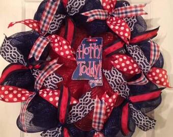 Hotty Toddy Ole Miss Wreath; Hotty Toddy Wreath for Door,Rebels Wreath, Ole Miss Gift, Ole Miss Wreath,Rebels Door Wreath,