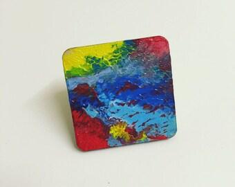 Original abstract painting brooch badge