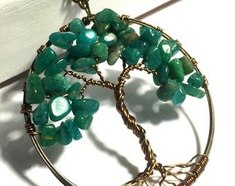 Amazonite Tree of Life Necklace, Tree of Life Pendant, Wire Wrapped Tree of Life Necklace, Tree of Life Necklace