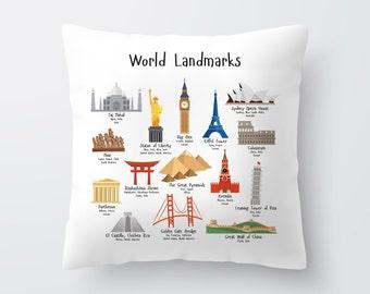Decorative Pillow for Kids with Landmarks, Travel Nursery Decor, Nursery Decor, Baby Gift, Eiffel Tower, Paris, England, New York, Australia