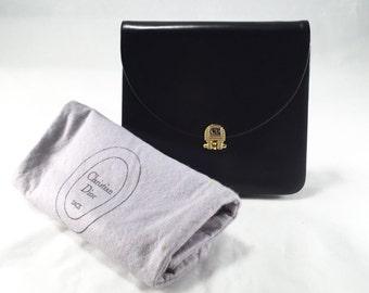 Vintage Christian Dior Black Leather 2-Way Bag