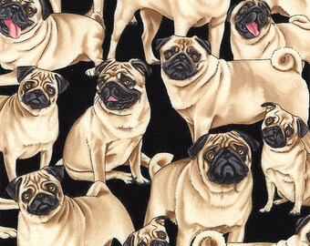 Pug Fabric- Fabric With Pug Dogs