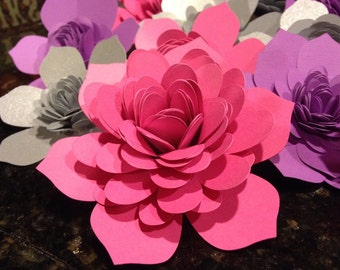 Card stock Paper Flowers Set of 6