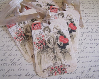 Valentine Tags-Vintage French Couple-Set of 6