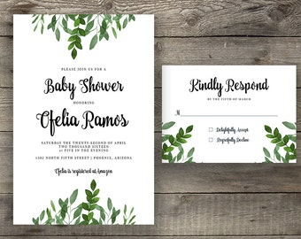 Boho Chic Invite, Green Leaf Invite, Leafy Invitation, Handpainted Invite, Baby Shower Invite, Calligraphy Invite, Printable Invite
