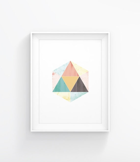 Triangle abstract shape minimalist art poster wall decor for Modern minimalist wall art