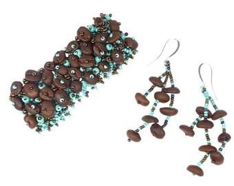 Guatemalan Coffee Bean Trade Beaded Bracelet Earrings Set, Handmade Fashion Jewelry Gift
