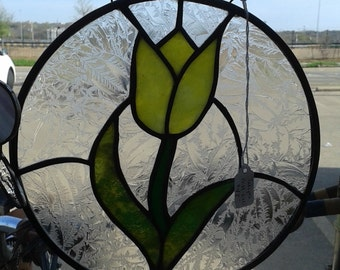SOLD  Stained Glass yellow tulip