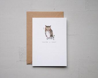 You're A Hoot - Owl Card - Anniversary Card - Funny Card - Birthday Card - Love Card - Note Card - Animal Card