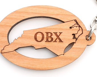 OBX Outer Banks North Carolina Key Chain Clip by Nestled Pines Workshop - Custom Engraving Available