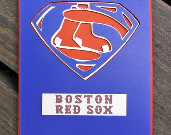 Boston Red Sox Card - Super Red Sox Fan, Baseball Team Card