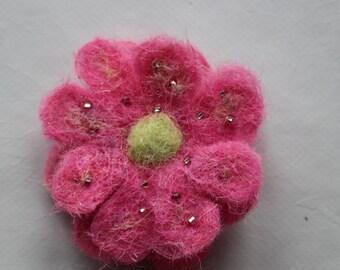 Pink Daisy Felted Flower Brooch
