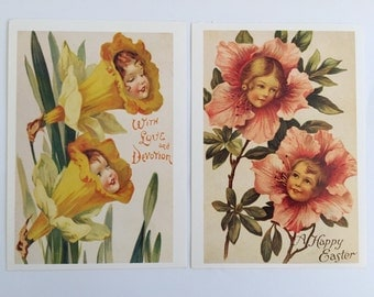 Two Unused Postcards with Vintage Illustrations - Easter