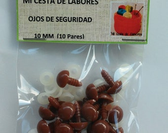 10 mm eyes of security Brown (10 pairs)-BROWN 10 mm safety eyes 10 pairs-10 mm yeux de sécurité-