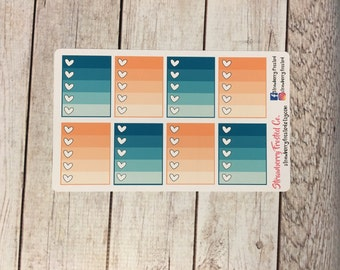 Teal and Peach/Coral Monthly Ombre Checklist Planner Stickers   Horizontals