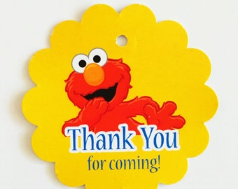 12 Elmo Thank you Birthday party favor tags