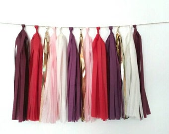 Burgundy, red, plum, gold, blush and ivory tassel garland - red and plum weddings - red and burgundy wedding