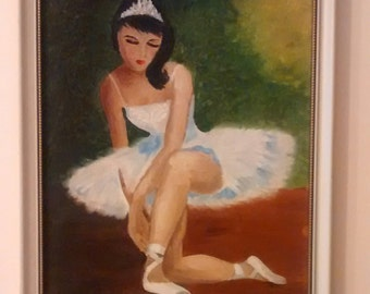 Original Oil Painting of a Ballerina