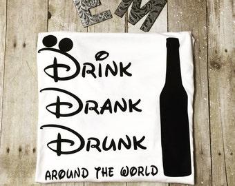 Drink Drank Drunk around the world tee