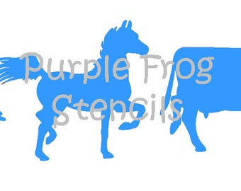Farm Animals STENCIL, Duck, Cow, Horse (Reusable) Different Sizes Available