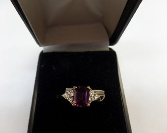 14 kt gold electroplate ring, size 5, new old stock,synthetic amithyst with cz