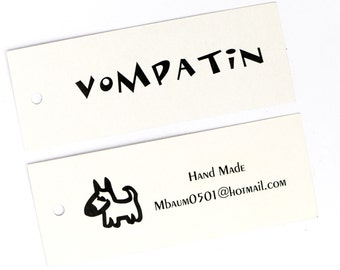 """Personalized Glossy Hang Tags 50 pcs sized 3.8""""x1.4""""  Clothing Tags Garment Tags Party Favor Tags Brand Tags"""