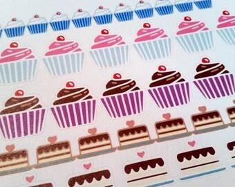 Stickers(handmade): cake and cupcake for calendar/planner (matte)