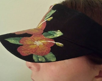Hat, Red Hibiscus Visor