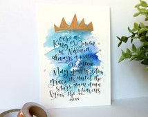 Kings & Queens of Narnia Quote | 5x7 | Aslan | Modern Calligraphy | Watercolor | Art | Hand Lettered | Hand Made