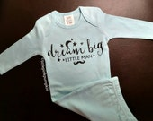 Baby Boy Coming Home Outfit, Dream Big Little Man, Little Man Outfit, Blue Baby Gown, Hospital Outfit, New Baby Outfit, Newborn Gown