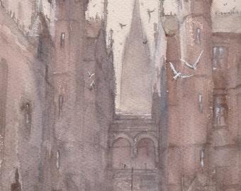 CASTLE - original watercolor painting 9X12, landscape