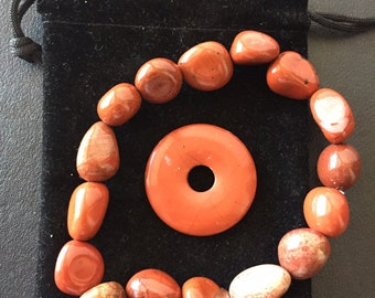Red Cardilian Bracelet and Munay-Ki Pie Stone