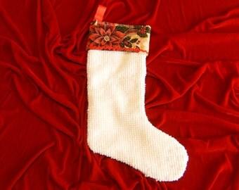 Chennile Christmas Stocking, Upcycled Christmas Stocking, Vintage Christmas Stocking, Lined Stocking, Poinsettia Christmas Stocking