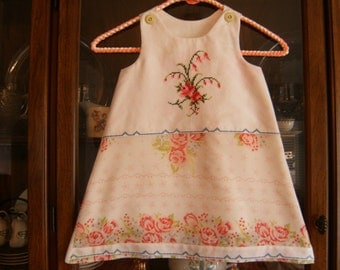 Girl's 3/4T Dress, 3/4T Jumper Dress, Pillowcase Dress 3/4T, Upcycled 3/4T Dress, Vintage Dress 3/4T