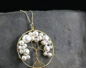 """18"""" Long Genuine Pearl Tree of Life Necklace,Wire Wrapped 14 Karat Gold Tree With Natural White Pearl,Gifts For Women"""