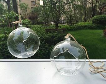 """Discount 4"""" starlike opening orb terrariums//5 inch hanging glass planter// indoor plants holders//garden succulent"""