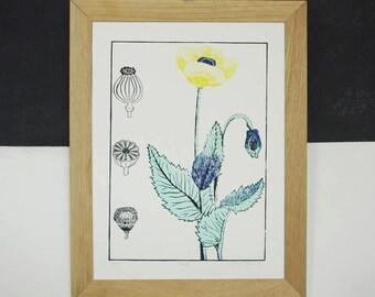 Shows flower and botanical - blue, grey, yellow - linocut handmade - 47 x 35 cm - poppy