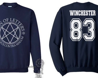 Winchester 83 Sam Winchester Men Of Letters Stamus Contra Malum Supernatural printed on Navy Crewneck Sweatshirt
