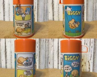 "1978 Aladdin Brand Ziggy ""Munch Box"" Plastic Thermos"