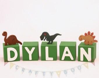Personalised Wooden Letter Blocks, Name blocks, Dinosaur themed blocks