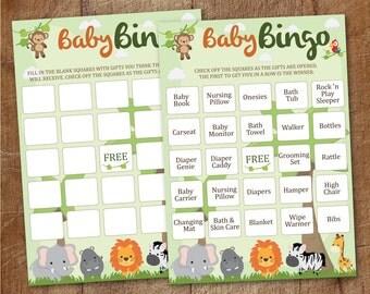 Safari Baby Shower Bingo Cards Printable, Blank And Prefilled Bingo Cards,  Jungle Baby Shower