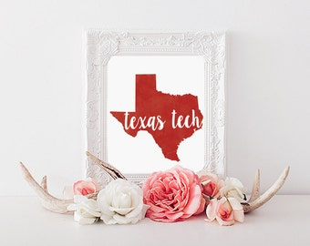 Texas Tech Red Raiders Watercolor State Print (8x10)