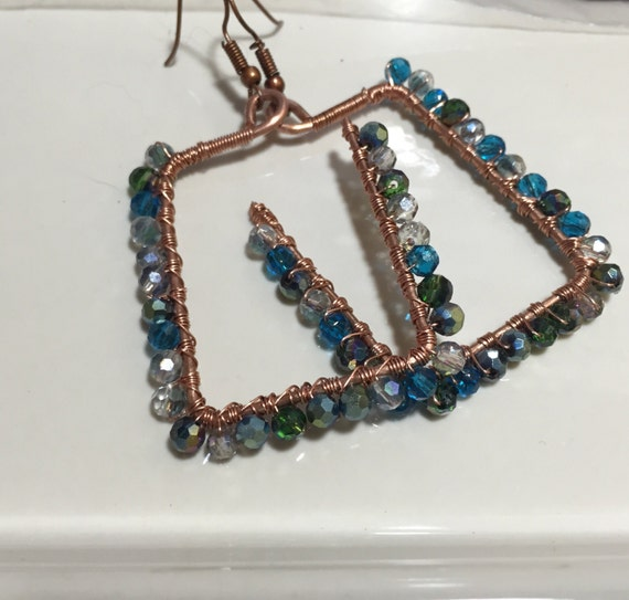 Copper wire earrings, wire wrap copper earrings, swavorski crystal earrings, geometric copper earrings, geometric crystal earrings, earrings