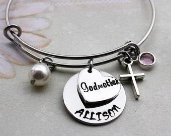 Godmother bracelet, Godmother jewelry, Godmother gift, Godmother bangle, Godmother cross bracelet, personalized Godmother bracelet