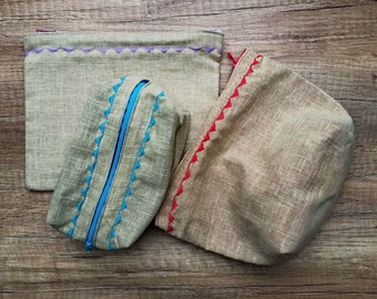 Set of three zipper pouches