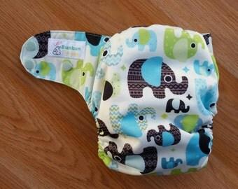 Baby Elephants cloth diaper - AIO cloth diaper - one size cloth diaper - Newborn all in one - hemp bamboo - gender neutral - wahm diaper