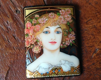 "Store Wide SALE! 40% OFF! All Items! Rectangle Black Onyx Bead - Hand Painted ""Reverie"" By Mucha"