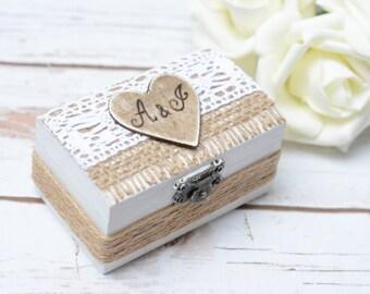 Ring Box Bearer Rustic Wedding Ring Pillow Personalized Ring Bearer Rustic ring box Hoder Wedding Decoration