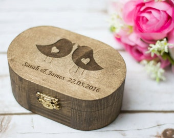 Rustic Ring Box Love Birds Wedding Ring Box Ring Bearer Pillow Personalized Ring Box Bearer
